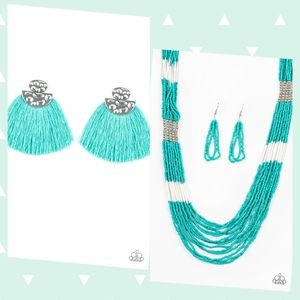 Teal fringe earrings with Teal Necklace